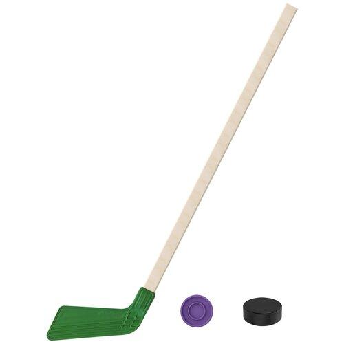 Набор зимний: Клюшка хоккейная зелёная 80 см.+шайба + Шайба хоккейная детская 60 мм., Задира-плюс