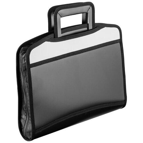 Папка портфель Attache серая, вставка, черно-серый, выдвижные ручки (331731)