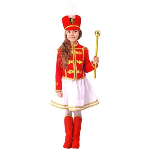 Купить Костюм пуговка Мажоретка (1067 к-20), красный/белый, размер 110, Карнавальные костюмы
