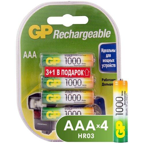 Фото - Аккумулятор Ni-Mh 950 мА·ч GP Rechargeable 1000 Series AAA, 4 шт. аккумулятор ni mh 1000 ма·ч camelion nh aaa1100 2 шт