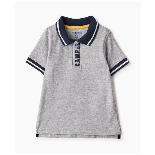 Купить Поло Button Blue, размер 98, серый, Футболки и майки