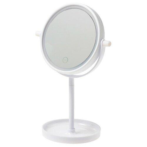 Зеркало косметическое настольное LuazON KZ-04 с подсветкой белый
