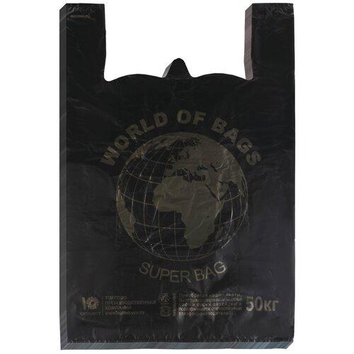 Пакет-майка Юпласт World 43(+20)х65 см, 30 мкм черный 100 шт. пакет майка officeclean звёзды пнд 30х60 см 15 мкм белый 100 шт