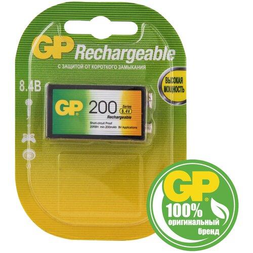 Фото - Аккумулятор Ni-Mh 200 мА·ч GP Rechargeable Крона, 1 шт. аккумулятор ni mh 200 ма·ч robiton 9v крона 6f22 200 1 шт