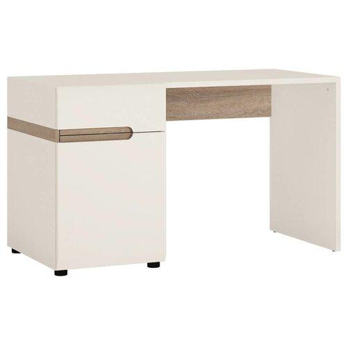 Письменный стол Anrex Linate, ШхГ: 125х61.9 см, цвет: белый/белый глянцевый/сонома трюфель