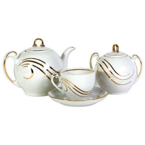 Чайный сервиз Добрушский фарфоровый завод Гармония (Золотая волна), 6 персон, 14 предм. сервиз чайный фарфоровый на 6 персон 220 мл royal classics 14 предметов