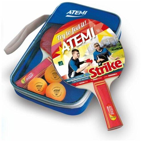 Фото - Набор для настольного тенниса Atemi Strike (2 ракетки+чехол+3 мяча***) набор для игры в теннис abtoys 2 ракетки 2 мяча на блистере 43x21x4 5