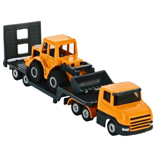 Фото - Набор техники Siku Тягач с бульдозером (1616) 1:87, 16.3 см, оранжевый/серый набор машин siku тягач с яхтой 1849 1 87 27 см красный белый