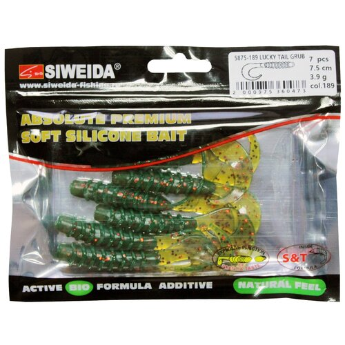 Набор приманок резина SIWEIDA Lucky Tail Grub твистер цв. 189 7 шт.
