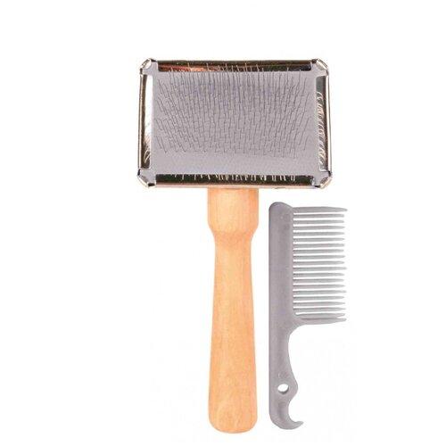 Фото - Щётка-пуходерка мягкая 13 х 6 см с деревянной ручкой + расчёска щётка пуходерка trixie 2358 мягкая односторонняя