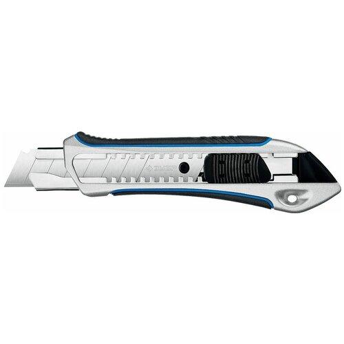 Зубр Металлический обрезиненный нож с автостопом Титан-А, сегмент. лезвия 18 мм, ЗУБР Профессионал (09177_z02)