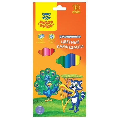 Мульти-Пульти Карандаши цветные Енот в саванне, 10 цветов (CP_11498) мульти пульти карандаши цветные енот в испании 24 цвета cp 10758