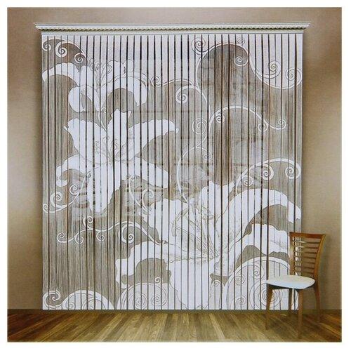 Штора Лента 235*255 см, белый, 100% полиэстер, шторная лента