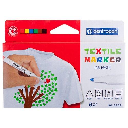 Купить Centropen Набор фломастеров Textile (2739/6), 6 шт., Фломастеры и маркеры