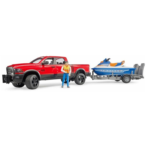 Набор техники Bruder Ram с водным мотоциклом (02-503) 1:16, красный/голубой/серый недорого