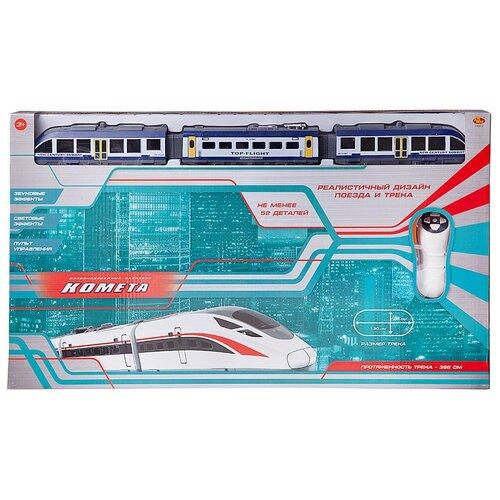 Купить Железная дорога ABtoys Комета , Железнодорожный экспресс, с пультом управления, голубой поезд, свет и звук (C-00411), Наборы, локомотивы, вагоны