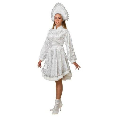 Карнавальный костюм Снегурочка Амалия, платье, кокошник, р. 46, рост 170 см, цвет белый карнавальный костюм ёлочка искристая атлас кокошник платье ярусами р р 30 рост 110 11