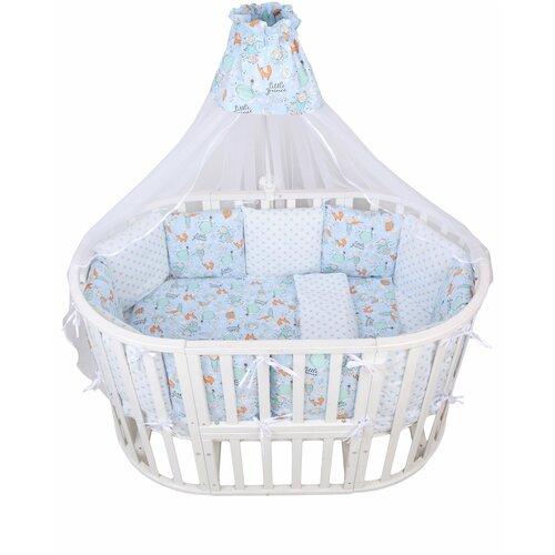 Купить Комплект Premium в кроватку 18 предметов (6+12 подушек-бортиков) AmaroBaby Маленький принц (поплин), Постельное белье и комплекты