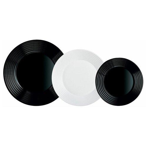Столовый сервиз Luminarc Harena Black&White, 6 персон, 18 предм., черный/белый сервиз столовый luminarc harena 19 предметов 6 персон
