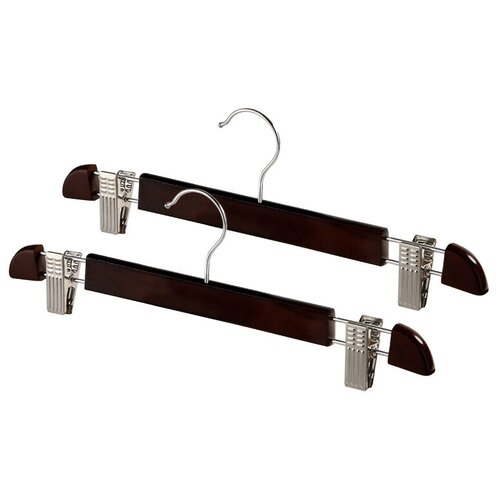 вешалка для брюк miolla с зажимами цвет металлик черный длина 35 см Вешалка Valiant Деревянная для брюк с зажимами 2 шт. коричневый