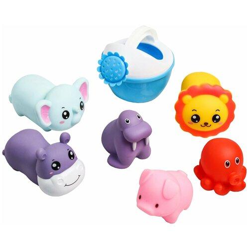 Крошка Я / Развивающая игрушка / Игрушка для ванной / Набор игрушек для купания, 6 шт + леечка крошка я игрушка комфортер для новорождённых игрушка для детей первый подарок пинетки