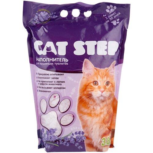 Фото - Впитывающий наполнитель Cat Step силикагелевый с ароматом лаванды, 3.8 л впитывающий наполнитель for cats с ароматом зеленого чая 4 л