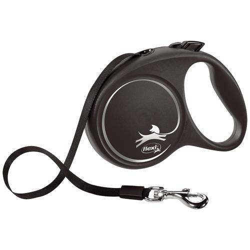 Фото - Поводок-рулетка для собак Flexi Black Design L ленточный черный/серебристый 5 м поводок рулетка для собак flexi black design m ленточный зеленый 5 м