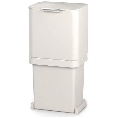 Контейнер для мусора Joseph Joseph с двумя баками Totem Pop, 60 л, белый (30091) контейнер для мусора с прессом titan 20 л серый joseph joseph 30039