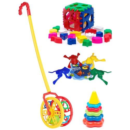 Купить Набор развивающий: Каталка Колесо + Кубик логический большой + Пирамида детская малая + Команда КВА №1 KAROLINA TOYS, Развивающие игрушки