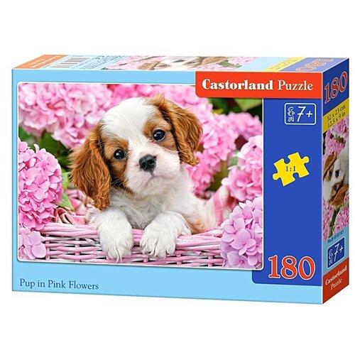 Пазл Castorland Pup in Pink Flowers (B-018185), 180 дет. пазл castorland к старту готов b 018406 180 дет