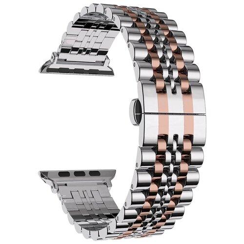 Lyambda Ремешок из нержавеющей стали Castor для Apple Watch 42/44 mm silver/rose gold