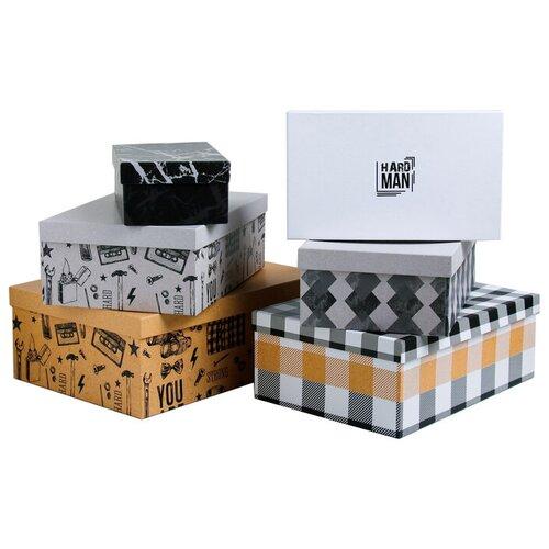 Фото - Набор подарочных коробок Дарите счастье For man, 6 шт. бежевый/серый/белый/черный набор подарочных коробок дарите счастье универсальный 10 шт бежевый белый черный