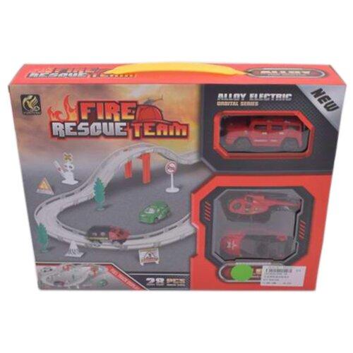 Игровой набор Автотрек, в комплекте: деталей 28шт, транспорт металлический 2шт, Машина электрифицированная, эл.пит.АА*1шт.не вх.в комплект Shantoy Gepay 696-3B