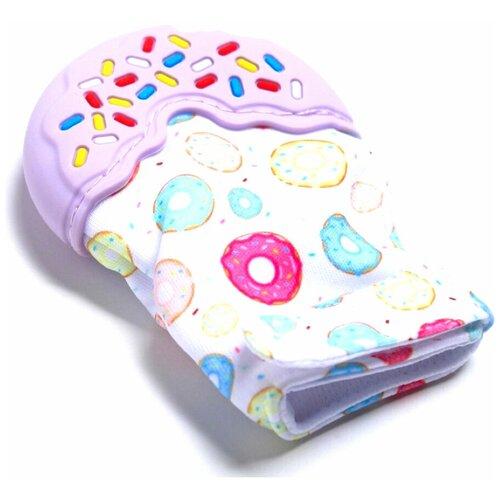 Крошка Я Игрушка для малышей, Развивающая игрушка, прорезыватель-рукавичка Пончик на липучке, цвет сиреневый крошка я игрушка комфортер для новорождённых игрушка для детей первый подарок пинетки