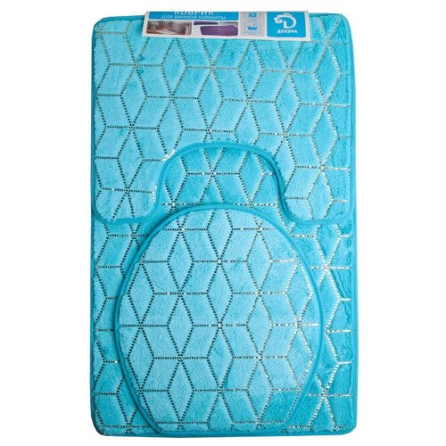 Комплект ковриков Доляна Геометрик 35х40 см, 40х50 см, 50х80 см голубой