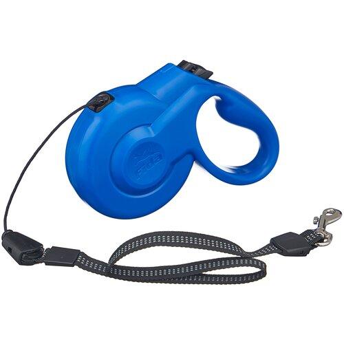 Поводок-рулетка для собак Fida Styleash тросовая (S) голубой 5 м