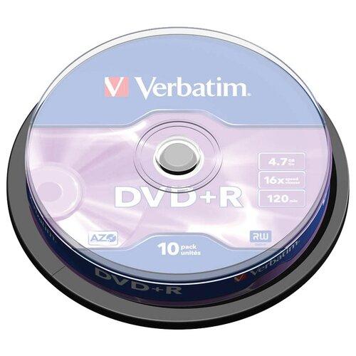 Диск DVD+R Verbatim 4.7Gb 16x AZO 10 шт. cake box