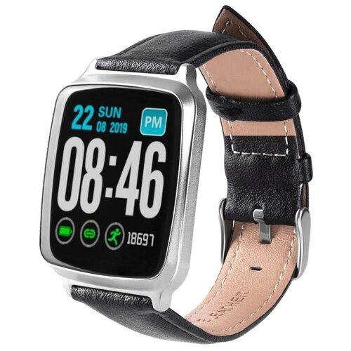Умные часы GSMIN WP10 (leather), черный/серый