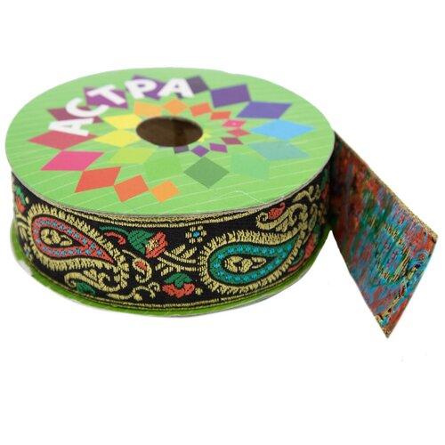 Купить SR986 Тесьма жаккардовая, 30 мм*9 м, 'Астра' (зеленый), Astra & Craft, Декоративные элементы