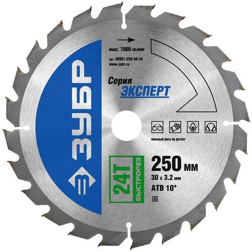 Фото - Пильный диск ЗУБР Эксперт 36901-250-30-24 250х30 мм пильный диск зубр эксперт 36901 255 30 24 255х30 мм