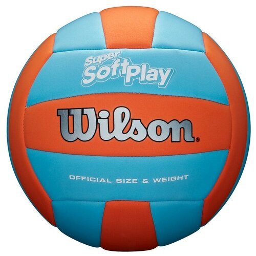 Волейбольный мяч Wilson Super Soft Play голубой/оранжевый