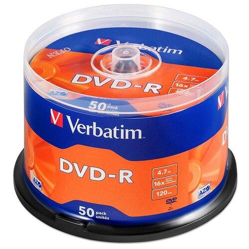 Диск DVD-R Verbatim 4.7Gb 16x AZO 50 шт. cake box