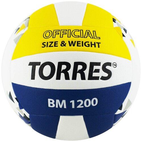 Волейбольный мяч TORRES BM1200 белый/синий/желтый