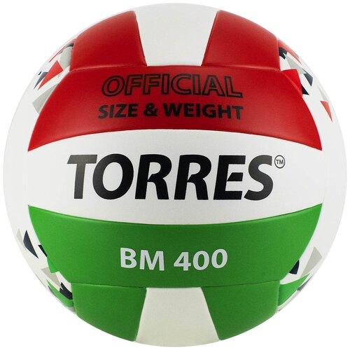 Волейбольный мяч TORRES BM400 белый/красный/зеленый