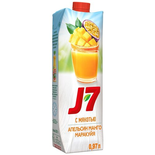 Нектар J7 Апельсин-Манго-Маракуйя, с крышкой, 0.97 л нектар rich апельсин манго 1 л