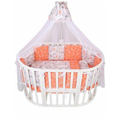 Купить Комплект Premium в кроватку 18 предметов (6+12 подушек-бортиков) AmaroBaby Лес (поплин), Постельное белье и комплекты