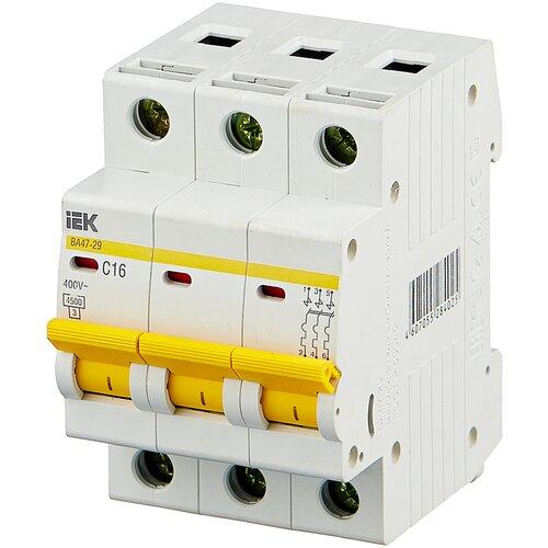 Автоматический выключатель IEK ВА 47-29 3P (C) 4,5kA 16 А автоматический выключатель iek ва 47 29 3p c 4 5ka 63 а