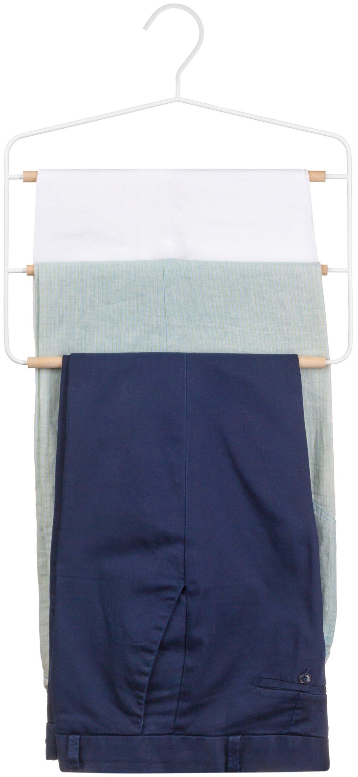 Вешалка для брюк 34,9х1,2х35,3 см EL Casa Белая с 3 деревянными перекладинами — купить по выгодной цене на Яндекс.Маркете