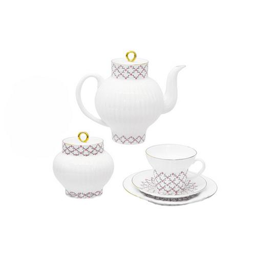Сервиз чайный ф. Волна рис. Розовая сетка (20 предметов)