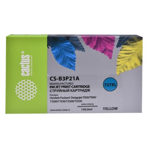 Фото - Картридж струйный CACTUS (CS-B3P21A) для HP DesignJet T920/T1500/T2530, желтый, 130 мл картридж струйный cactus 727 cs b3p20a пурпурный 130мл для hp dj t920 t1500 t2530